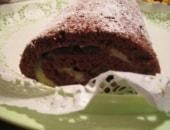 Rotolo alla cioccolata con budino alla vaniglia