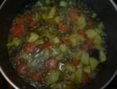 Farfalline in crema di piselli,patate e carote al profumo di basilico