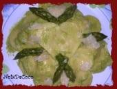 Ravioli al prosciutto cotto e ricotta in pesto di asparagi