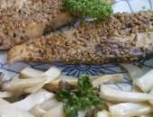 Fette di ricciola impanate nel sesamo, al cartoccio