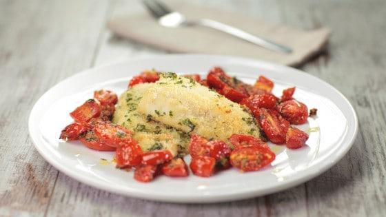 Filetto di spigola e pomodorini gratinati