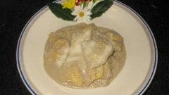 Agnolotti con ripieno di coniglio alla crema di porcini