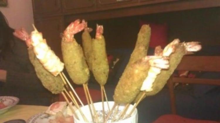 Gamberi in crosta di carciofi