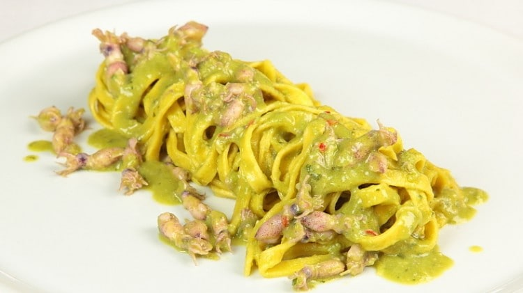 Tagliatelle spillo e crema di piselli