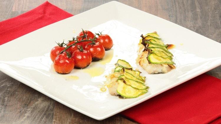 Saraghi in crosta di mandorle e zucchine