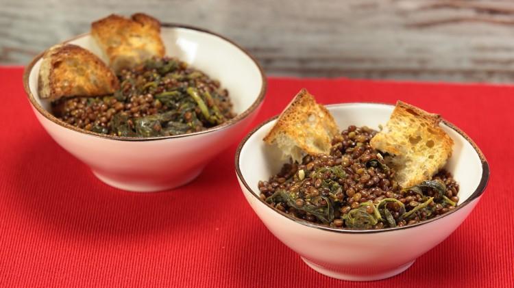 Zuppa di lenticchie e friarielli