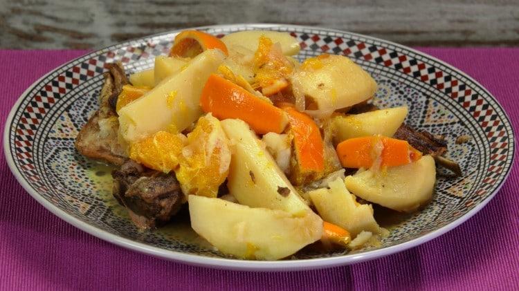 Tajine d'agnello,  patate e arance