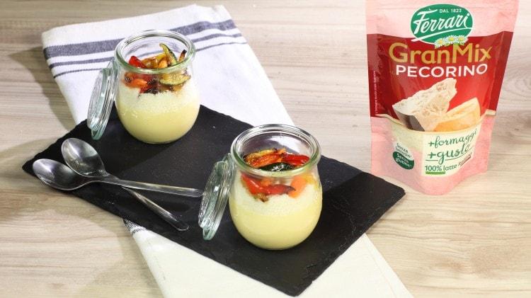 Crema pasticcera salata con verdurine arrostite