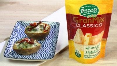 Patate al cartoccio ripiene di formaggio e pomodori secchi