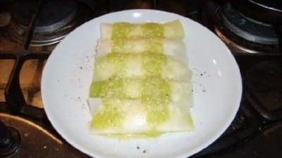 Cannelloni di porro con ricotta e scalogni