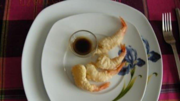 Gamberi in pastella con salsa di aceto balsamico