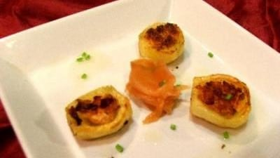 Barchette di patate allo scalogno e salmone affumicato