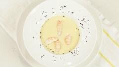 Crema di cavolfiori e patate con scampi