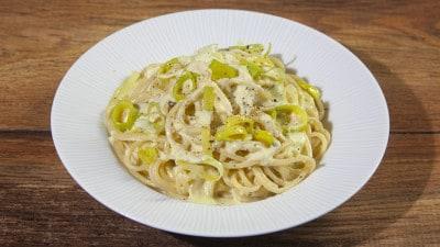 Spaghetti alla crema di porro
