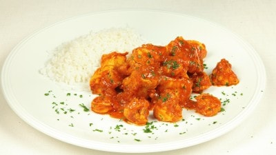 Curry di pollo con gamberi