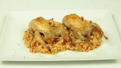 Quaglie con risotto - Ortikia pilafi