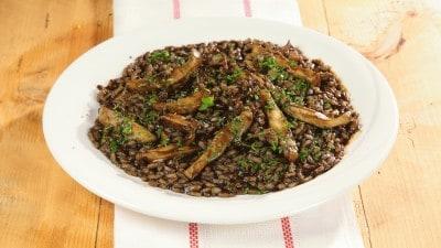 Seppie con risotto - Soupies pilafi