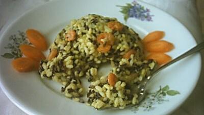 Cupole di riso bicolore ai gamberi