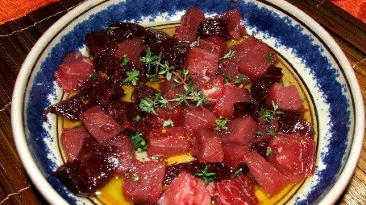 Crudo piccante di tonno rosso al timo