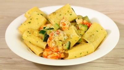 Paccheri zucchine e gamberoni