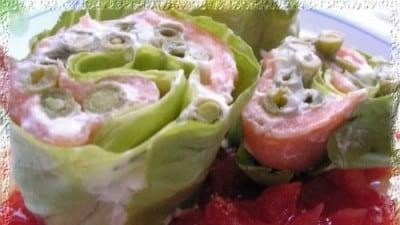 Rotolini di fagiolini e salmone