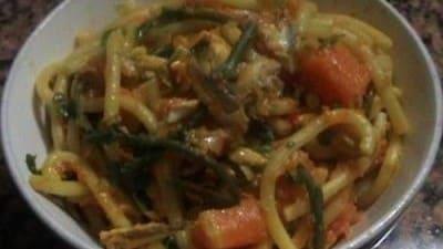 Ruvidelli acciughe, asparagi e zucca