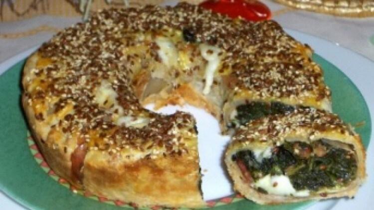 Anello di prosciutto e spinaci