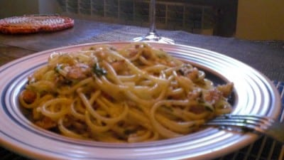 Spaghetti canocchie e gamberetti