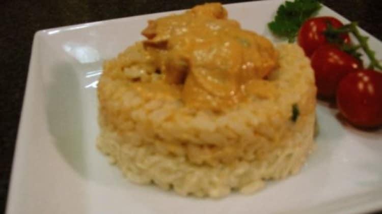 Sformato di riso bicolore ai gamberoni imperiali