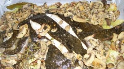 Rombo al forno con funghi e patate