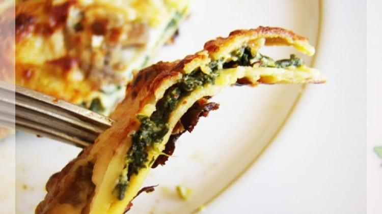 Crèpes ricotta e spinaci alla boscaiola