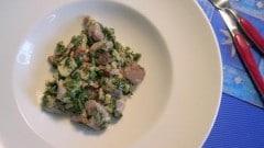 Gnocchi di patate blu con bietole e speck