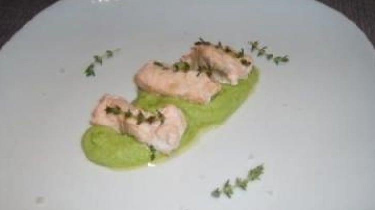 Salmone con crema di zucchine