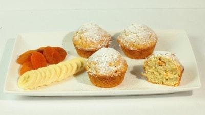 Muffins alle albicocche secche e banane