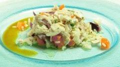 Insalata di riso con pollo e carote