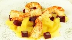 Insalata di gamberoni e patate all'aneto
