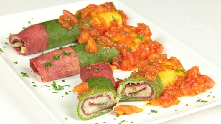Cannelloni tricolore con patate e bresaola