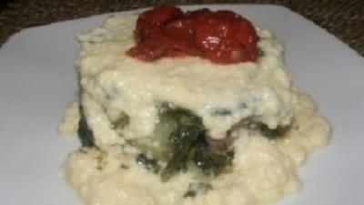 Sformato di broccoli e patate in salsa di Ragusano semistagionato